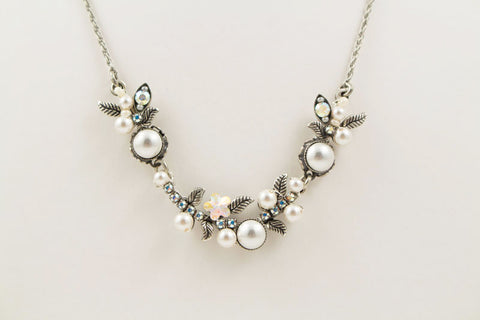White Pearls Flora Necklace by Firefly Jewelry