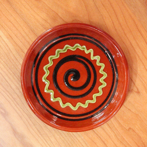 Redware Coaster with Black Swirl