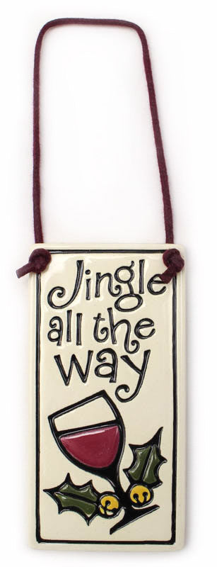 Jingle All The Way Wine Tag Ceramic Tile