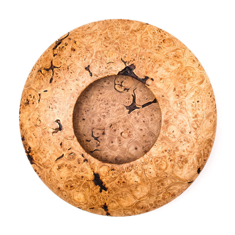 Maple Burl with Bark Inclusions Saucer-Shaped Vessel