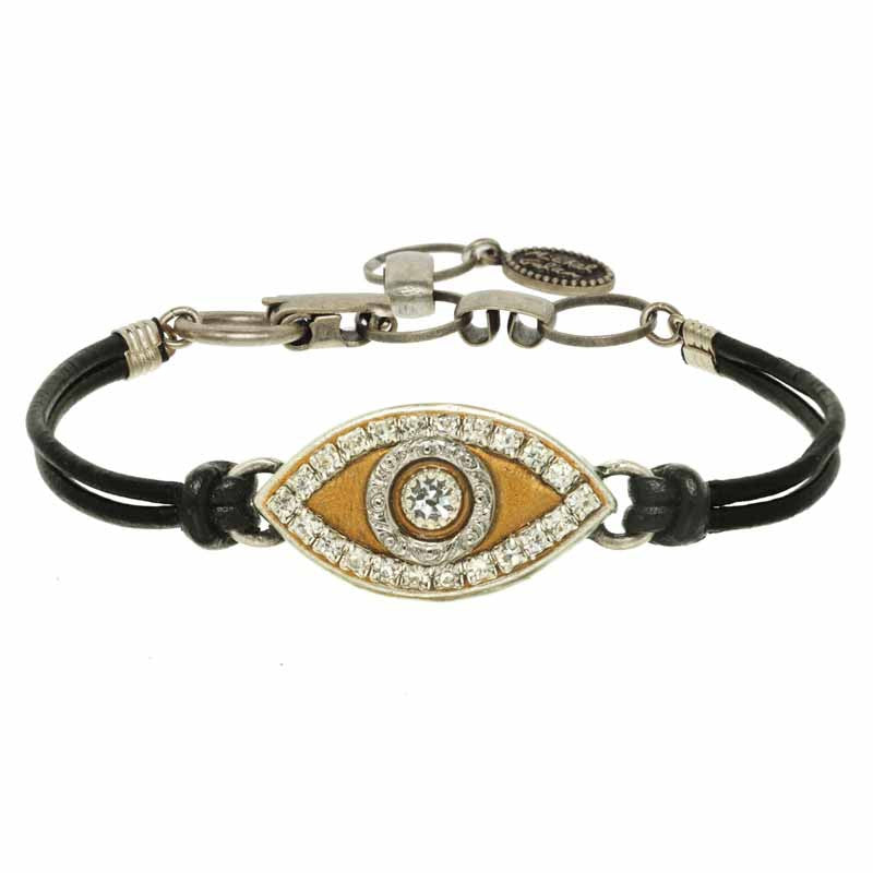 Gold and Silver Eye Leather Bracelet by Michal Golan
