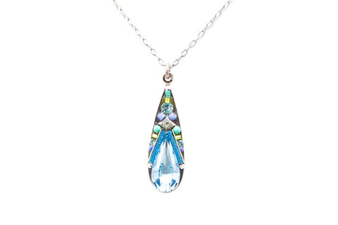 Aquamarine Camelia Simple Pendent Necklace by Firefly Jewelry