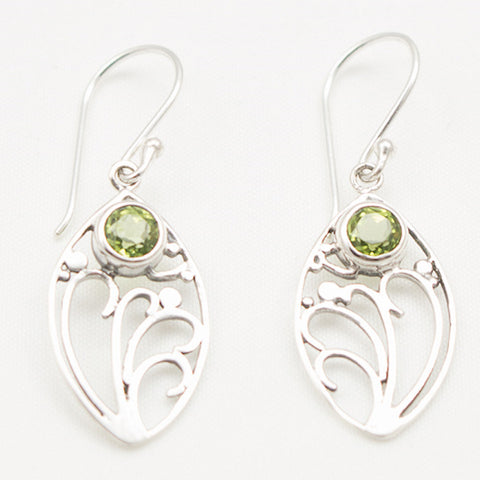 Sterling Silver Floral Nouveau Dangle with Round Facted Peridot Earrings