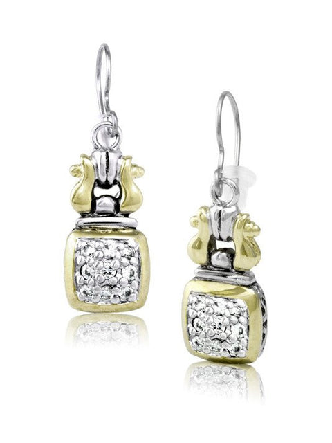 Anvil Square Pave Fish Hook Earrings by John Medeiros