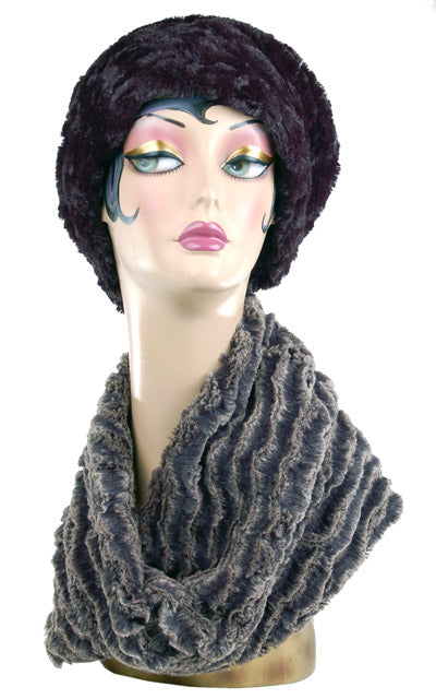 Desert Sand in Charcoal Luxury Faux Fur Neck Warmer