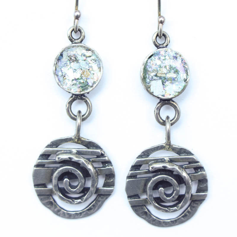 Spiral Drop Roman Glass Earrings