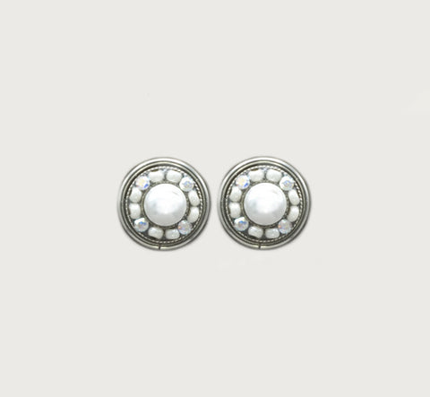 White Pearl Flora Round Post Earrings by Firefly Jewelry