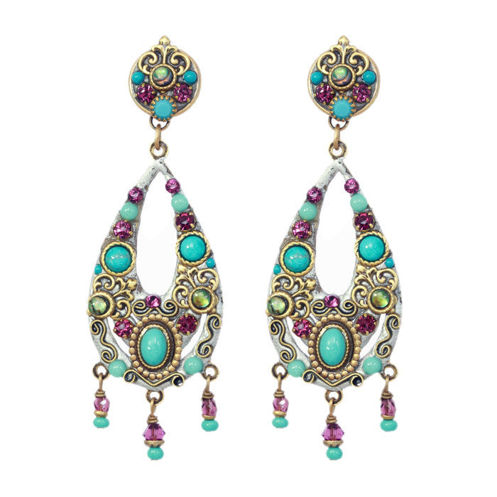 Turkish Bazaar Two Part Design Tear Drop Earrings by Michal Golan