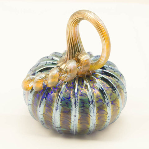 Handblown Glass Pumpkin in Iridescent Cobalt