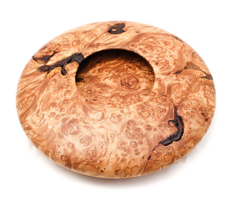 Maple Burl and Flame Quilted with Bark Inclusions Saucer-Shaped Vessel
