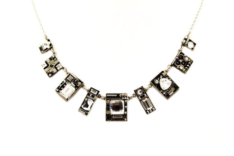 Black and White Geometric Large Necklace by Firefly Jewelry