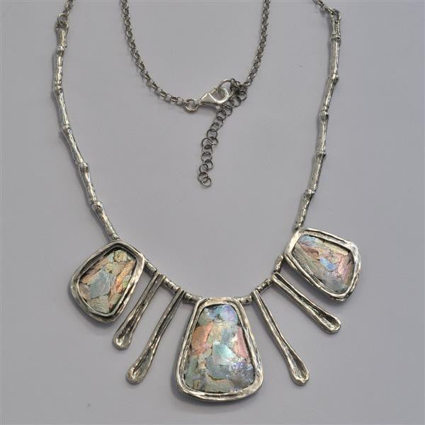 Mixed Rectangles Patina Roman Glass Necklace