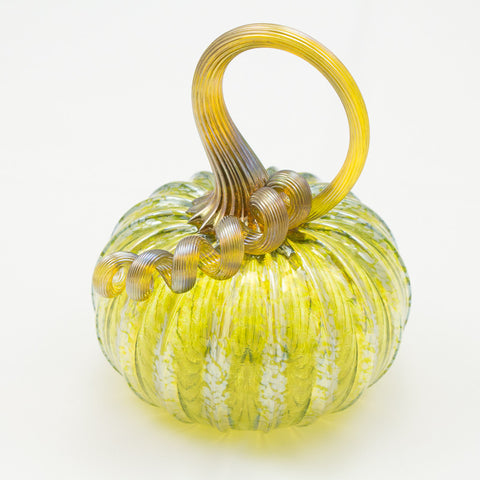 Handblown Glass Pumpkin in Iridescent Olive