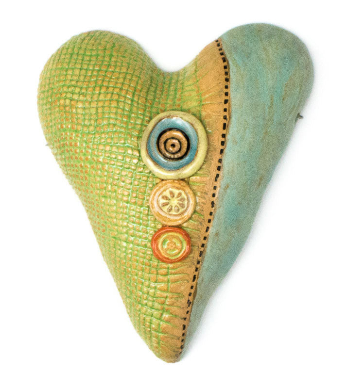 Marvelous Burlap Over Buttons Heart Ceramic Wall Art   Small