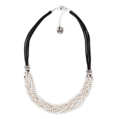 Braided Bead Leather Necklace