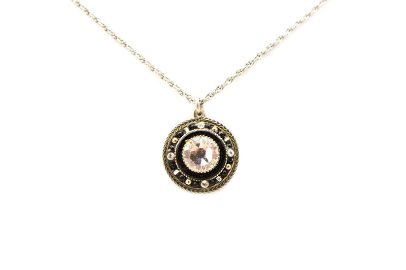 Black and White La Dolce Vita Round Pendant Necklace by Firefly Jewelry