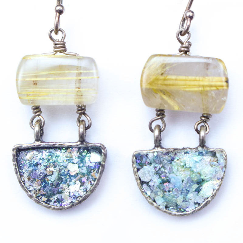 Gold Quartz and Roman Glass Earrings