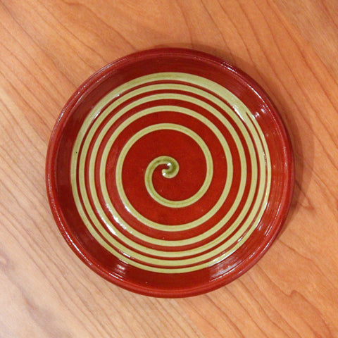 Redware Coaster with Big Green Swirl