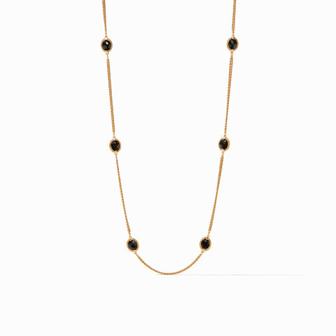 Calypso Station Necklace Gold Obsidian Black 40 Inches by Julie Vos