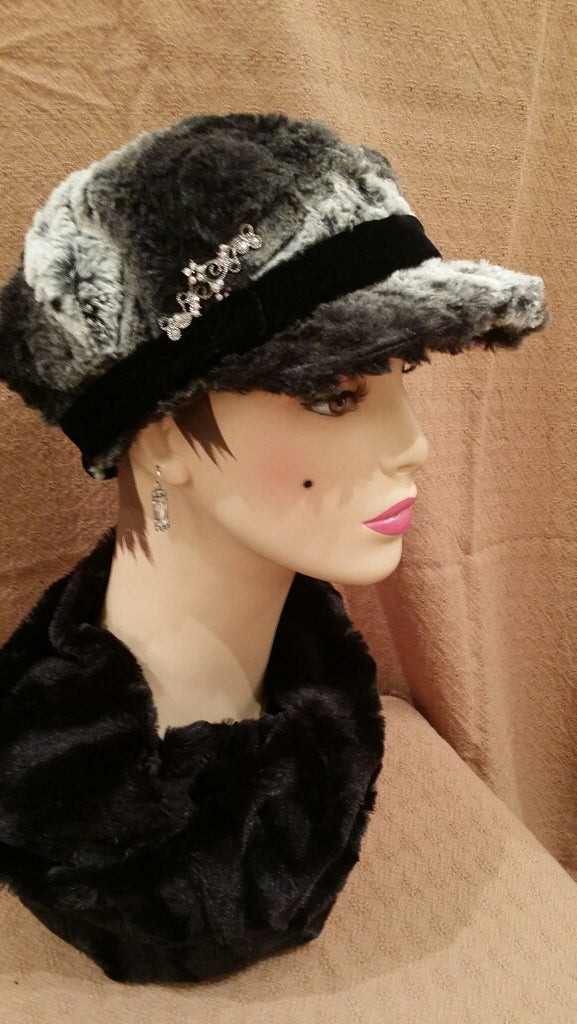 Black Chinchilla Luxury Faux Fur Valerie Hat with Brooch P: Size Medium