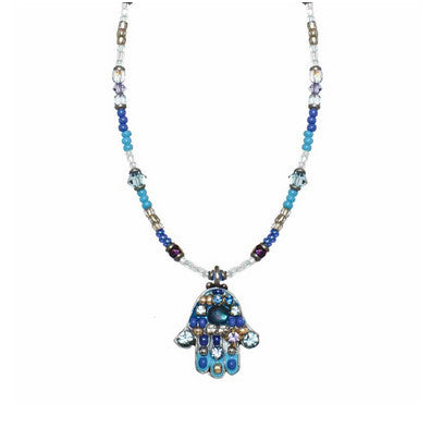Multi Bright Blue Small Hamsa Beaded Necklace by Michal Golan