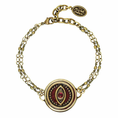 Round Red Eye Two Chain Bracelet