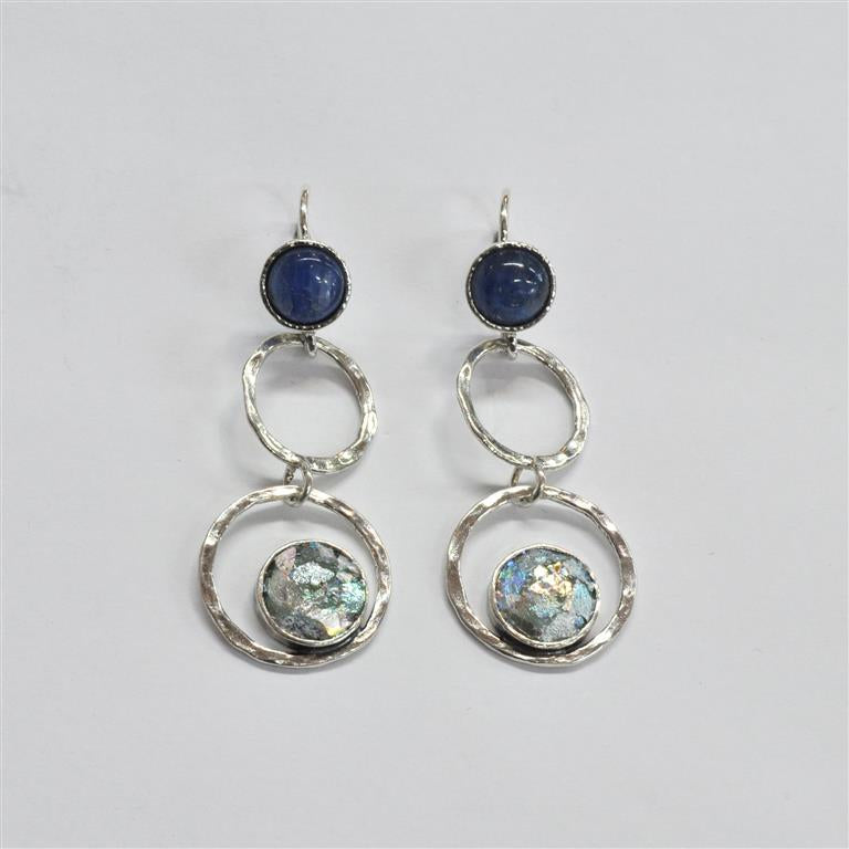 Shiny Silver Three Tier Open Cirlce Roman Glass Earrings