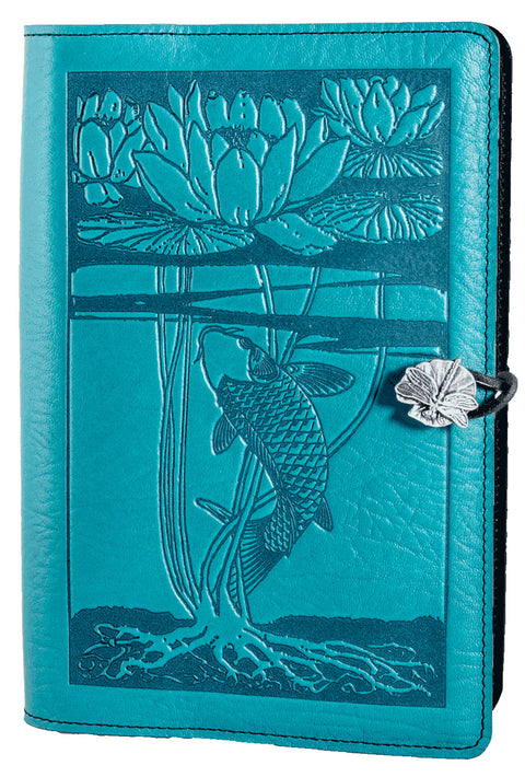 Small Leather Journal - Water Lily Koi in Teal