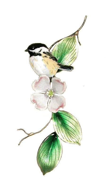 Chickadee Looking Left on Dogwood Wall Art by Bovano Cheshire