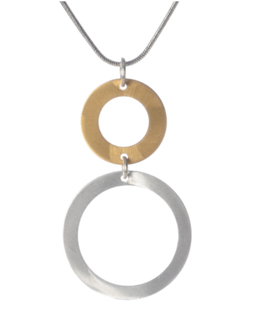 Graduated 2 Open Circle Pendant Necklace
