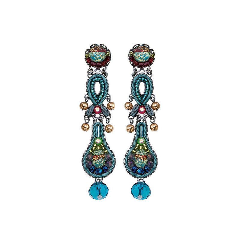 Turquoise Crown Violet Earrings by Ayala Bar