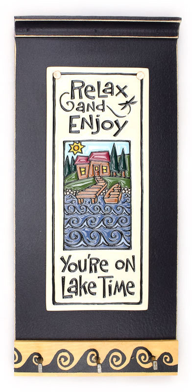 Lake Time Ceramic Tile on Wooden Key Holder