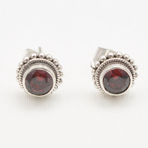 Sterling Silver Round Faceted Garnet with Granulation Border Post Earrings