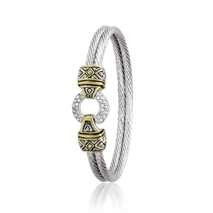 Antiqua Collection Pavé Circle Double Wire Bracelet by John Medeiros - Available in Multiple Sizes