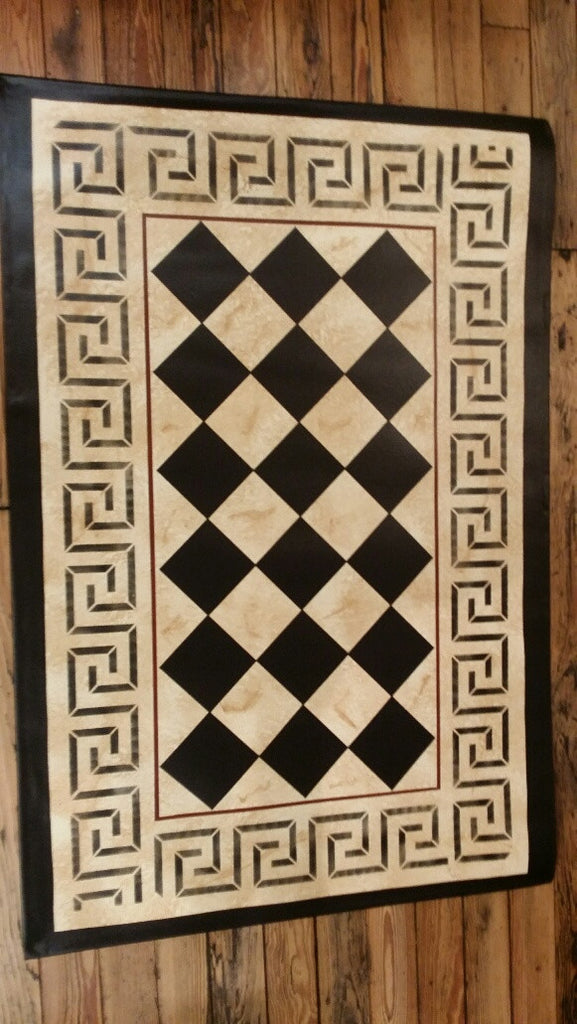 Diamond With a Greek Key in Marble Floorcloth - Size 32' 'x 52''
