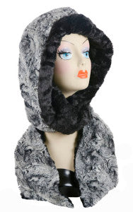 Licorice Swirl with Cuddly Black Luxury Faux Fur Hoody Scarf