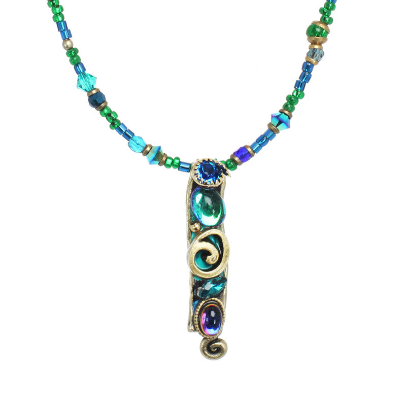 Emerald Long Swirl Pendant Beaded Necklace by Michal Golan