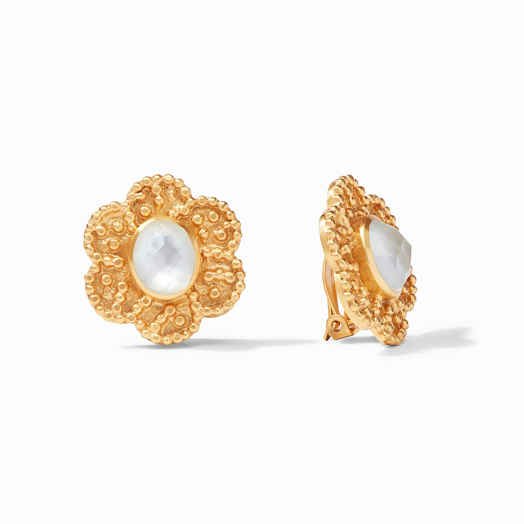 Colette Clip-On Earrings Gold Iridescent Clear Crystal by Julie Vos