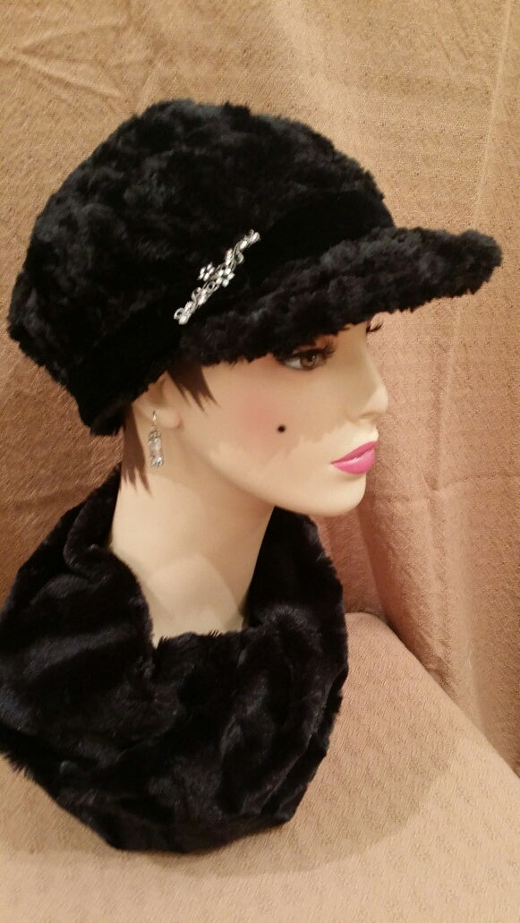 Cuddly Fur in Black Luxury Faux Fur Valerie Hat with Brooch Pin: Size Large