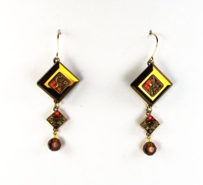 Smokey Topaz La Dolce Vita Crystal Diagonal Earrings with Dangle by Firefly Jewelry