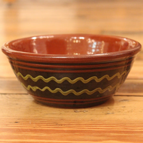 Redware Bowl in Black with Green Lines