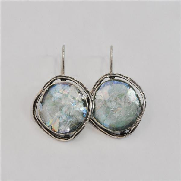 Ringed Full Round Patina Roman Glass Earrings