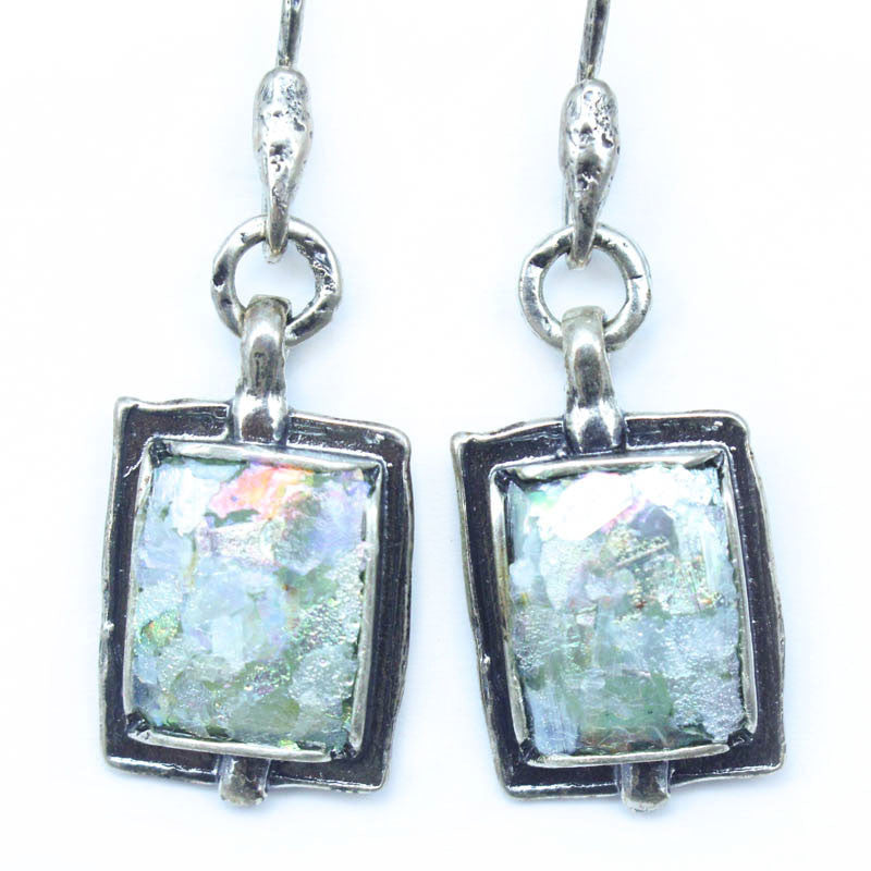 Framed Rectangle with Open Circle Patina Roman Glass Earrings