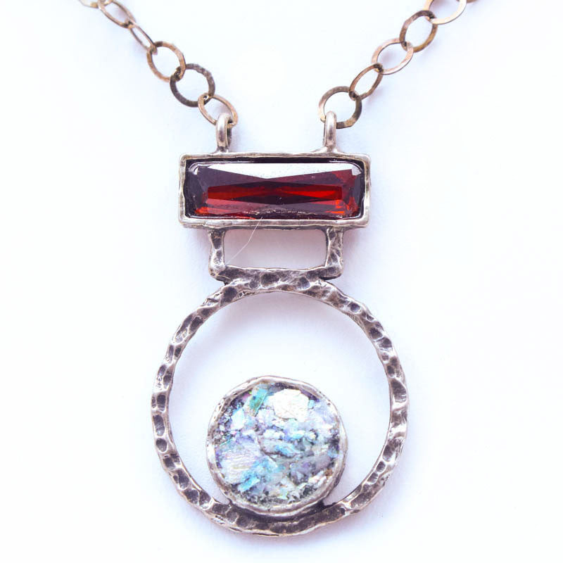 Garnet Rectangle with Open Circle Roman Glass Necklace