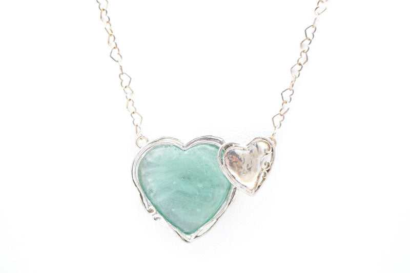 Double Heart Washed Roman Glass Necklace