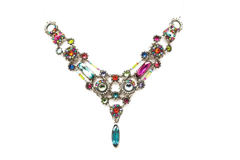 Multi Color Brilliant Large Elaborate Necklace by Firefly Jewelry
