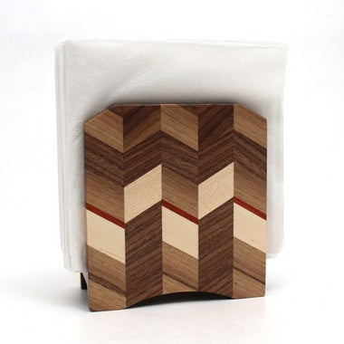 Checkered Napkin Holder in Walnut