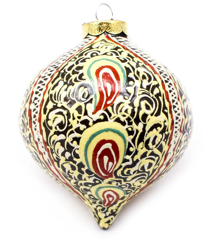 Delicate Rhythm in Cream Tear Drop Ceramic Ornament