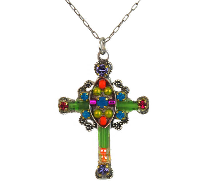 Multi Color Mosaic Cross Necklace by Firefly Jewelry