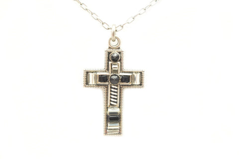 Black and White Petite Cross by Firefly Jewelry